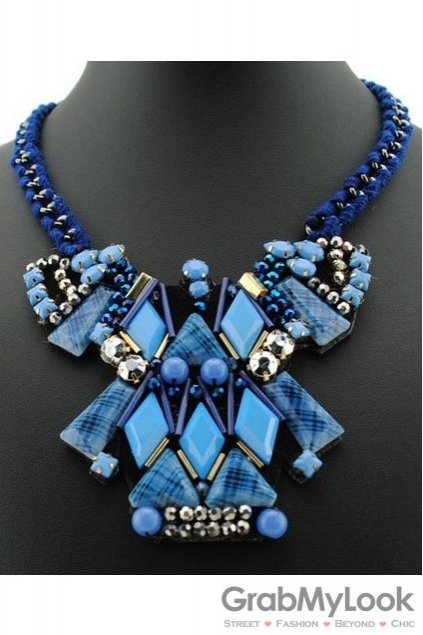Tribal Exotic Giant Blue Square Rectangle Bohemia Vintage Chain Punk Rock Necklace