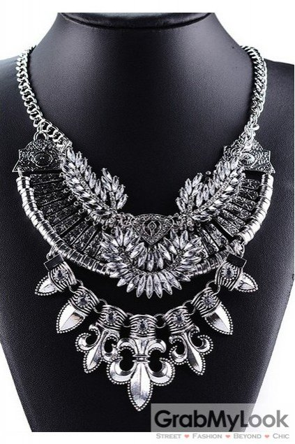 Giant Silver Medieval Pointy Bohemia Vintage Chain Punk Rock Necklace Tribal Exotic
