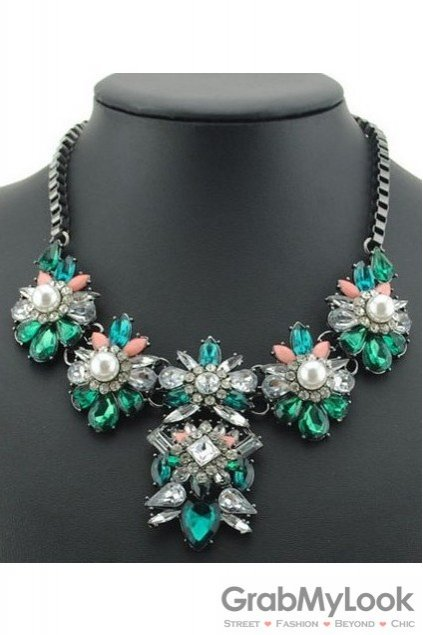Rhinestone Crystal Diamante Glamorous Green White Vintage Necklace