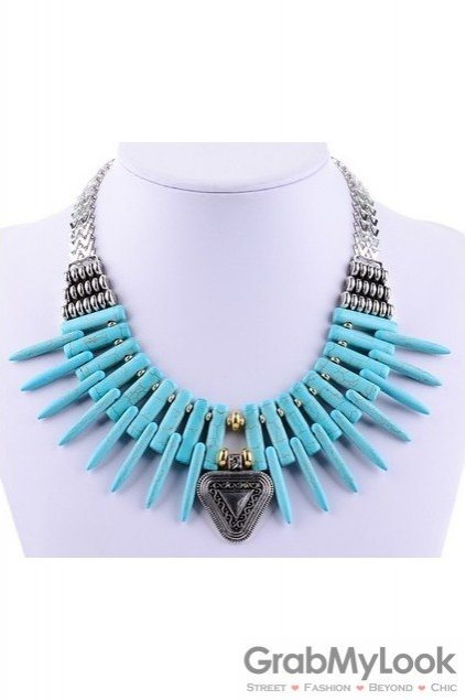 Bone Shape Exotic Tribal Bohemia Vintage Blue Necklace
