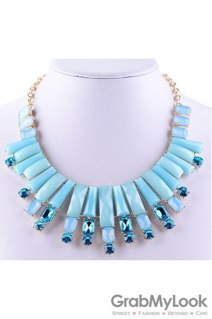 Rhinestone Crystal Rectangular Diamante Glamorous Bohemia Blue Baroque Vintage Necklace