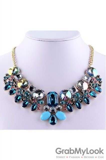 Rhinestone Crystal Diamante Glamorous Bohemia Blue Baroque Vintage Necklace
