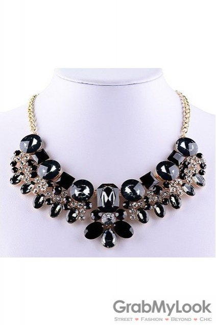 Rhinestone Crystal Diamante Glamorous Bohemia Black Baroque Vintage Necklace