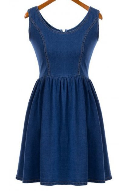 Denim Blue Jeans Sexy Sleeveless A Line Skater Mini Skirt Dress