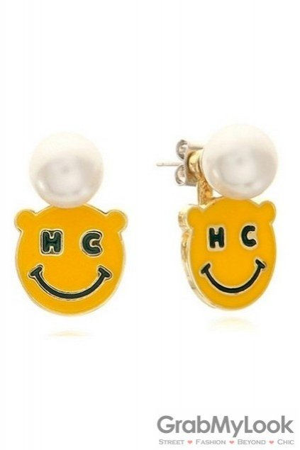 Yellow Happy Face and White Pearl Vintage Earrings Ear Pins