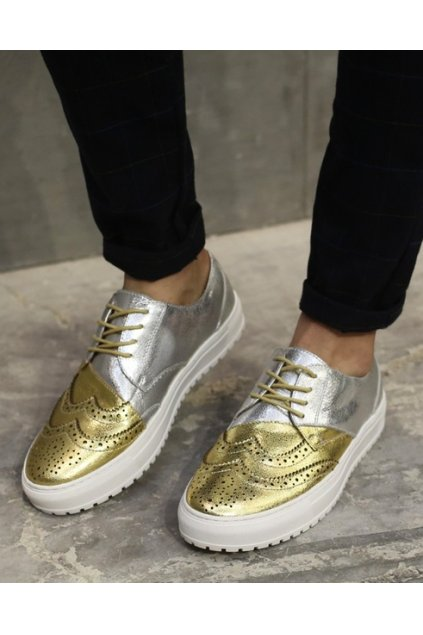 Gold Silver Baroque Old School Platforms Vintage Oxford Sneakers Loafers Shoes