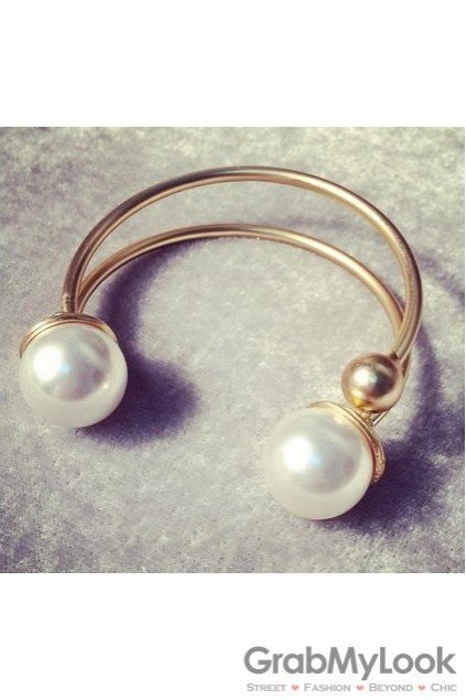 Giant Oversized Pearls Spheres Gold Thin Bracelet Bangle
