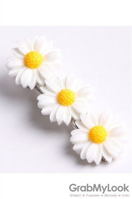 White yellow triple camomile sunflowers flowers hair pins hair clips mightylinksfo