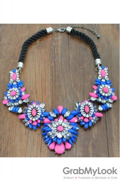 Rhinestone Crystal Diamante Glamorous Bohemia Blue Pink Floral Flower Vintage Necklace
