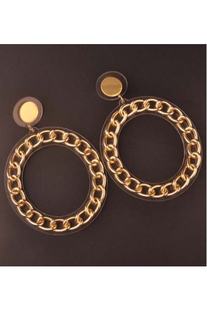 Oversized Giant Gold Circle Chain Ring Punk Rock Disco Hip Hop Ear Rings Earrings Ear Drops