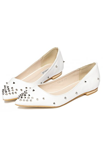 Spike Studs Punk Rock Faux Leather Point Head Ballet Flats