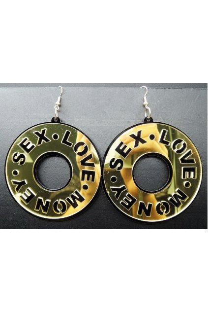Oversized Giant Gold Silver Round Gold Sex Love Money Punk Rock Disco Hip Hop Earrings Ear Drops