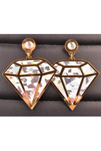 Oversized Giant Punk Rock Metallic Laser Cartoon Diamond Disco Hip Hop Ear Rings Earrings Ear Drops