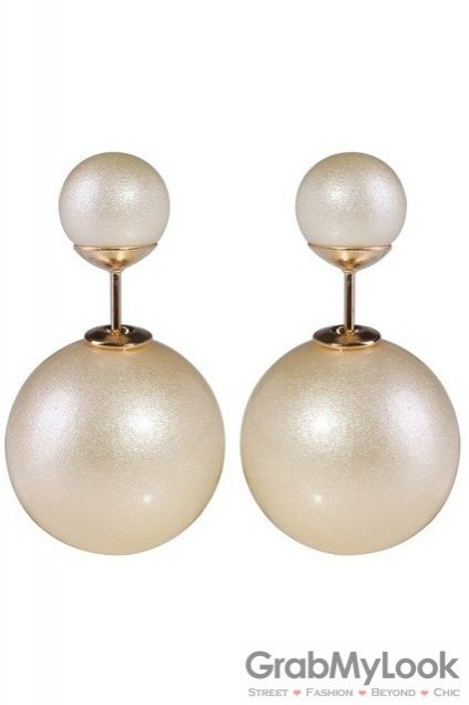 Pearl Cream Spheres Balls Earrings Ear Rings Pin