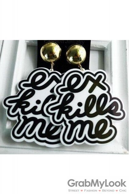 Oversized Giant Black White Ex Kills Me Punk Rock Disco Hip Hop Earrings Ear Drops