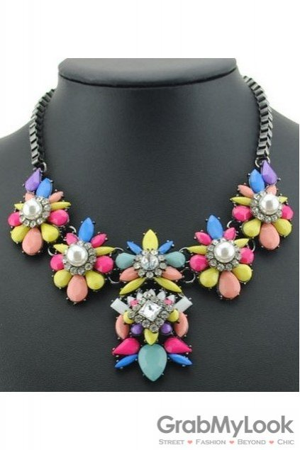 Rhinestone Crystal Diamante Glamorous Colorful Vintage Necklace