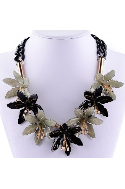 Lily Flowers Black White Floral Rhinestone Crystal Diamante Glamorous Tribal Bohemia Vintage Necklace