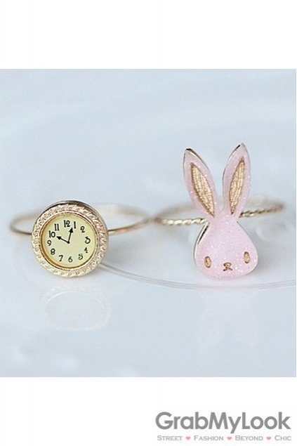 Pink White Gold Rabbit Vintage Set of Two Finger Rings