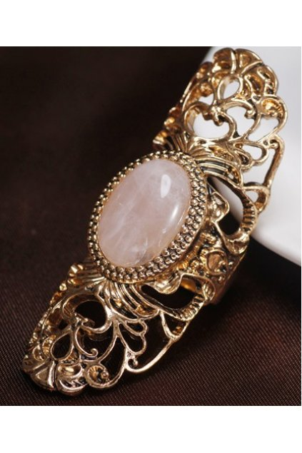 Gold Giant Vintage Hollow Out Pink Retro Gemstone Finger Ring
