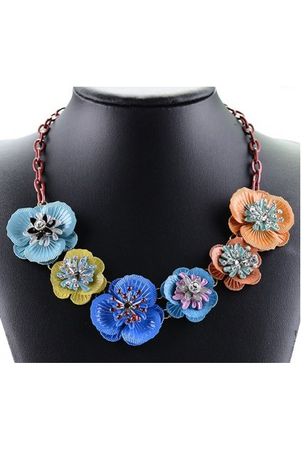 Tribal Exotic Giant Blue Orange Flower Bohemia Vintage Red Chain Punk Rock Necklace