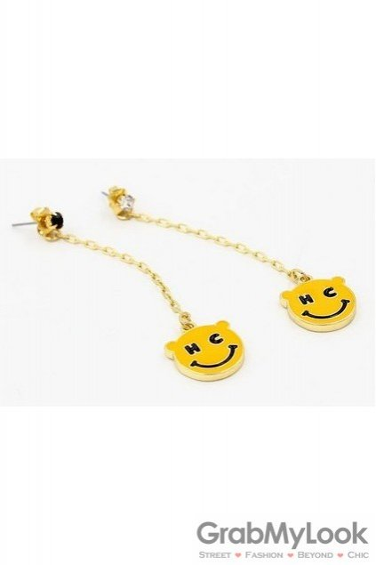 Crystals Diamante Yellow Smile Face Long Earrings Ear Pins Drops