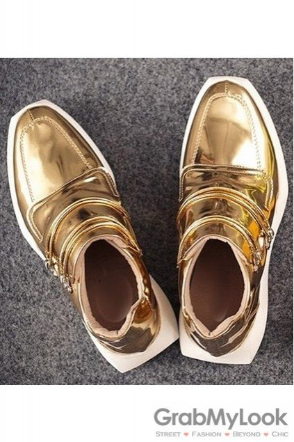 Shiny Metallic Gold Patent Leather High Top Mens Sneakers Running Walking Shoes