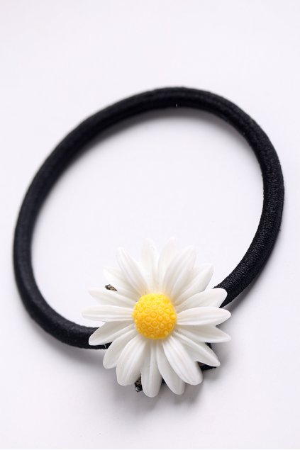 White Yellow Camomile Sunflowers Flowers Rubber Hair Band
