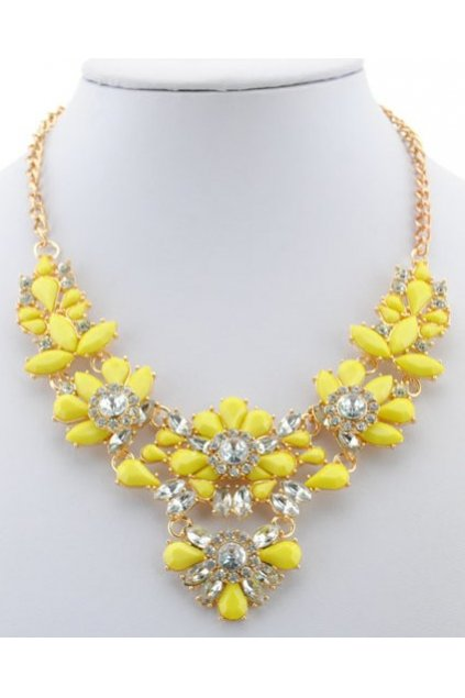 Rhinestone Crystal Diamante Glamorous Yellow Vintage Necklace