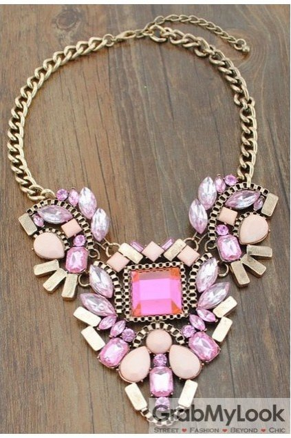 Giant Rhinestone Crystal Diamante Glamorous Bohemia Pink Vintage Necklace