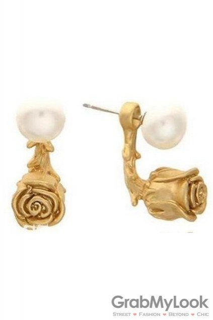 Gold Rose White Pearl Vintage Earrings Ear Pins