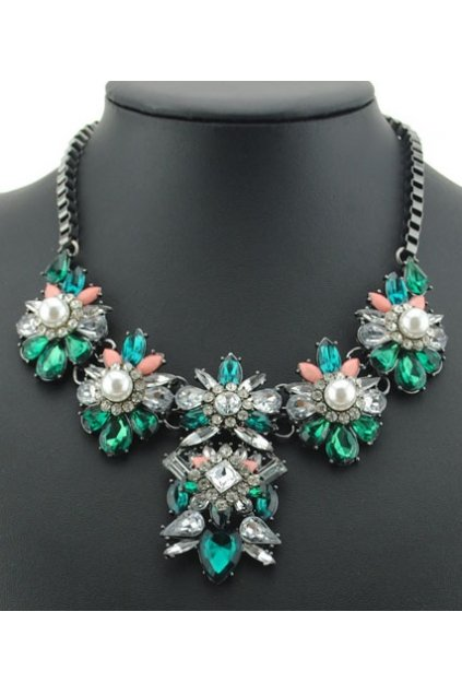 Giant Green Stones Diamante Pearl Bohemia Vintage Chain Punk Necklace Tribal Exotic