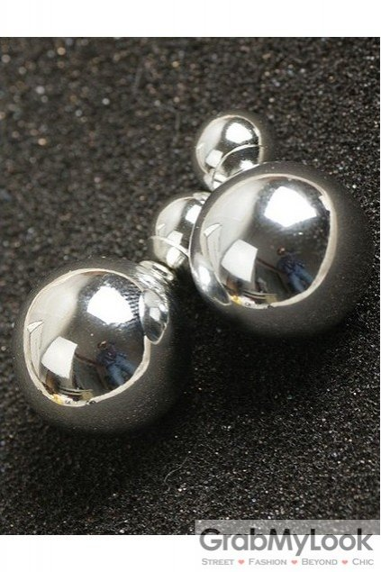 Metal Silver Punk Rock Spheres Balls Earrings Ear Rings Pin