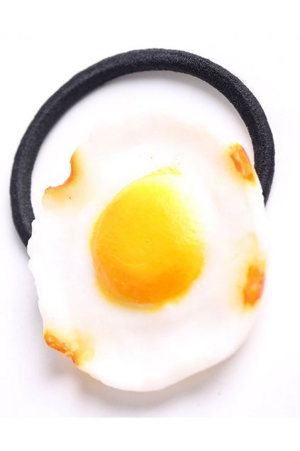 Up Side Down Fried Egg Rubber Hair Band