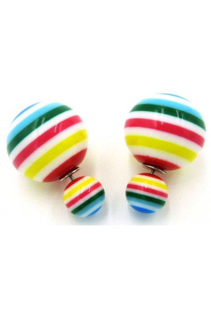 Colorful Rainbow Layered Jello Spheres Balls Earrings Ear Rings Pin