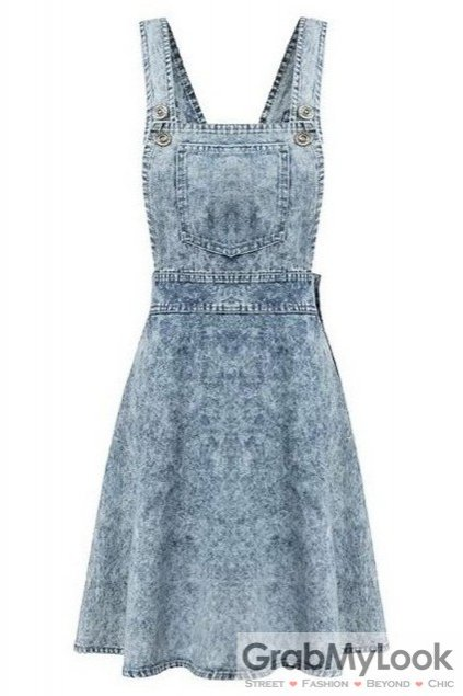 Denim Blue Jeans Vintage Washed Sexy Sleeveless A Line Skater Mini Skirt Dress
