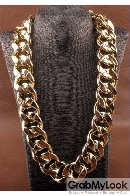 Thick Gold Metal Chain Punk Rock Boss Necklace