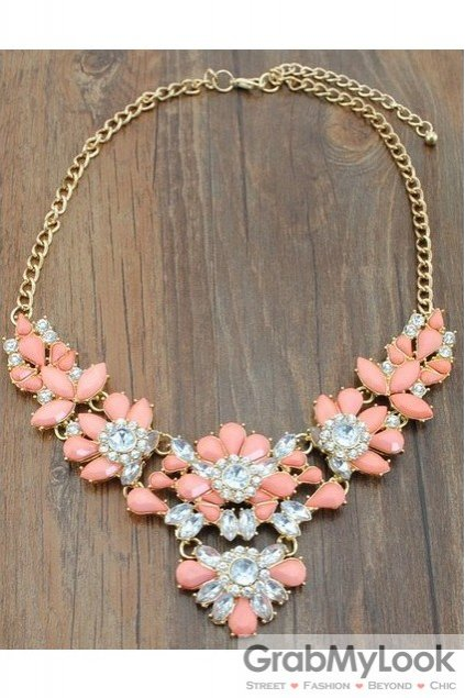 Rhinestone Crystal Diamante Glamorous Peach Pink Vintage Necklace