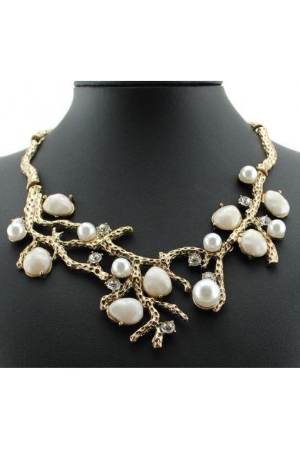 Gold White Pearl Twig Pattern Bohemia Vintage Punk Rock Necklace Exotic