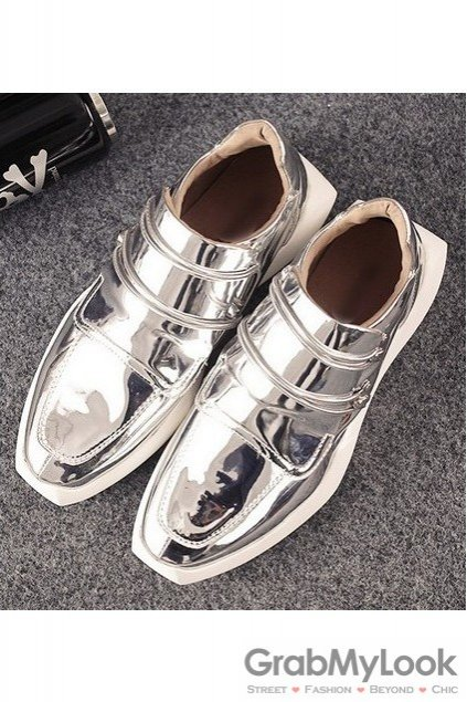 Shiny Metallic Silver Patent Leather High Top Mens Sneakers Running Walking Shoes