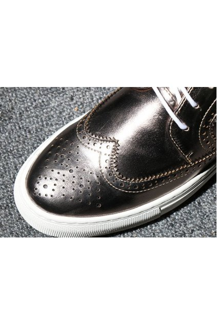 Silver Gold Vintage Leather Lace Up Platforms Oxfords Mens Sneakers Shoes