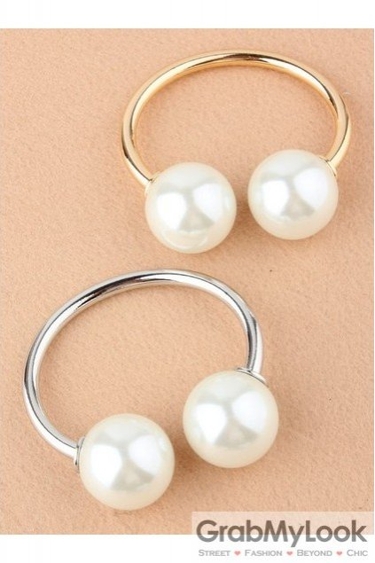 Giant Oversized Duo Pearls Spheres Gold Thin Bracelet Bangle
