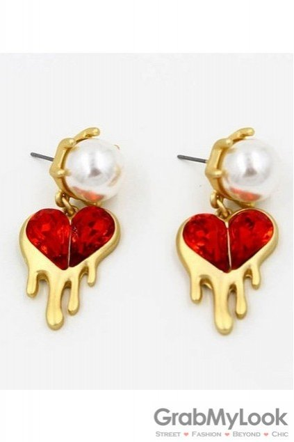 Red Diamante Melting Heart and White Pearl Gold Vintage Earrings Ear Pins
