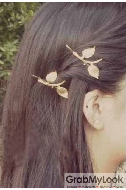 Gold Leaves Leaf Bridal Goddess Flower Hair Pins Hair Clips