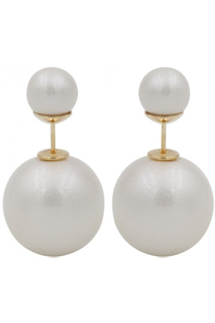 Pearl White Spheres Balls Earrings Ear Rings Pin