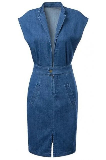 Denim Blue Jeans Deep V Sexy Sleeveless Bodycon A Line Pencil Skirt Dress