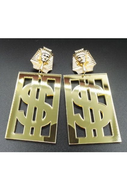 Oversized Giant Gold Egyptian Dollar Sign Rectangular Punk Rock Disco Hip Hop Earrings Ear Drops