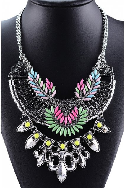 Chain Up Silver Green Red Leaves Bohemia Vintage Chain Punk Rock Necklace Tribal Exotic