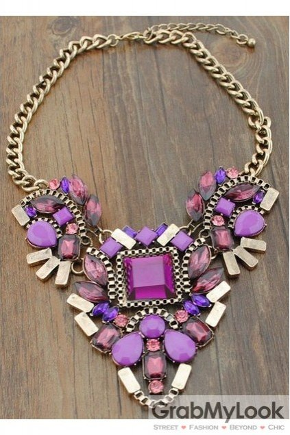 Giant Rhinestone Crystal Diamante Glamorous Bohemia Purple Vintage Necklace