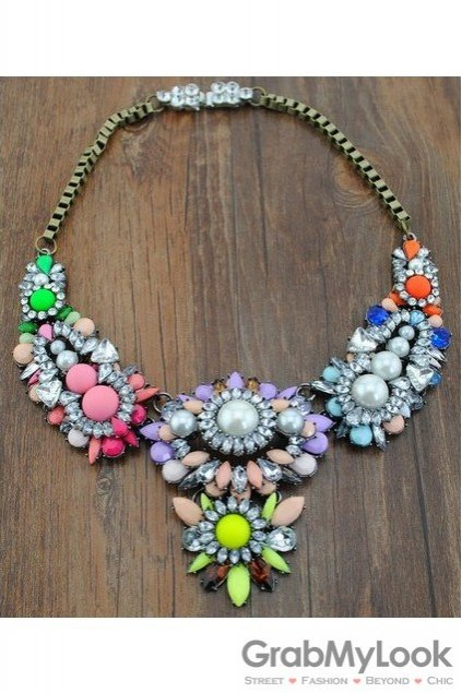 Rhinestone Crystal Diamante Glamorous Colorful Tribal Exotic Vintage Necklace