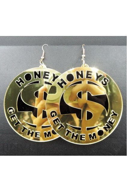 Oversized Giant Gold Round Honeys Get The Money Punk Rock Disco Hip Hop Earrings Ear Drops
